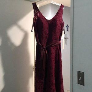 Marilee Madeline Gardner burgundy bridesmaid dress